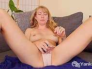 Shy blonde slowly takes all clothes off and starts to touch snatch with small vibrator 9