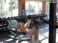 Excited stepsisters make out in gym and soon invite stepfather for amazing threesome 4