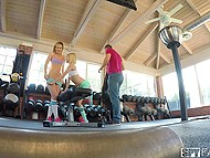 Excited stepsisters make out in gym and soon invite stepfather for amazing threesome 6