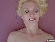 Mature Czech blonde closes her eyes with pleasure when starts touching sensitive vagina