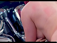 Mustached man fucks hot girlfriend Skyla Novea by his bike and ejaculates on spectacular breasts 6