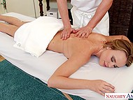 Hot blonde lies on table and experiences awesome massage given by talented rubber 4