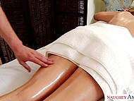Hot blonde lies on table and experiences awesome massage given by talented rubber 6