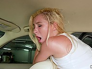 Comely blonde Kenzie Reeves makes love with porn talent scout in backseat of his car 4