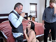 Spectacular brunette with red lips gives man blowjob then he licks and fingers woman's pussy in front of cuckold 4