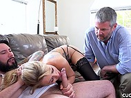 Man can't watch wife sucking bearded guy's cock and wants to leave but is ordered to stay