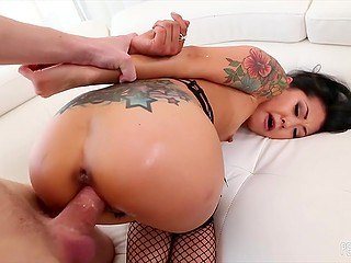 Petite Asian in fishnets Saya Song really likes when fucker penetrates her pussy from behind