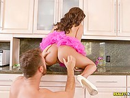 Ebony girl Aaliyah Hadid bends over kitchen countertop and BF fucks her from behind 6