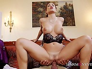 Handsome man unhurriedly penetrates trimmed pussy of Euro MILF Satin Bloom 5