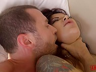 Severe porn actor roughly destroys ass of tattooed brunette in sexy black stockings 9