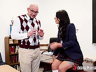 Bald teacher nicely punishes disciple Gina Valentina for making lesbian sex in his class 5