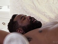Sexy MILF really likes when black man with beard fucks her and cums on huge knockers 6