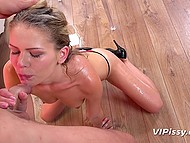 Charming blonde and sex partner piss on each other during fucking to make it more interesting 5