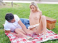 Guy masturbates smooth pussy of wonderful blonde with dildo and she blows his cock at picnic 6
