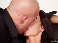 Sharing sweet kisses with bald man motivates skinny girl to start sucking lover's phallus 8