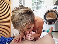 Naughty girl Mickey Blue seduced friend's husband for quick sex in the laundry room 11