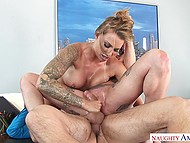 Nasty threesome with coworker is the way two chesty office sluts give up smoking 11