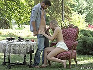 Handsome lover unhurriedly analyzes young girlfriend Lucette Nice outdoors on armchair 4