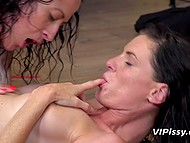 Naughty brunette lezzies set the goal to fill vessel with urine and pour bodies with it 5