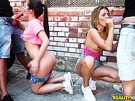 Girlfriends Cassie Fire and Mary Kalisy can't wait to be stretched by two buddies