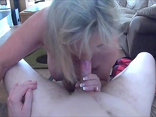 Mature blonde pleases strange geek guy with the most amazing blowjob he was ever given