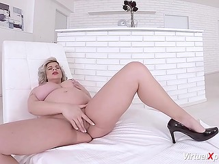 Pregnant blonde with amazing big boobs undresses to rub pussy in nice VR porn video