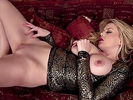 Light-haired lovely in sequin dress reveals sizable baps and takes off panties to finger pussy 7