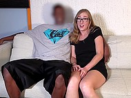 Nerdy girl shows hairy vagina with piercing and gives blowjob to black guy with huge dick 5