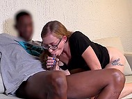 Nerdy girl shows hairy vagina with piercing and gives blowjob to black guy with huge dick