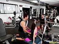 Athletic Latin guy gives slutty brunette Rachel Starr hard cock she desires right in gym 5