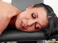 Athletic Latin guy gives slutty brunette Rachel Starr hard cock she desires right in gym 9