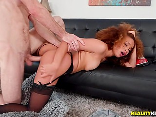 Black maid with curly red hair stops cleaning and goes to worship cock of young house owner