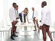 Girl over forty Jessica Drake roughly fucked in mouth by a bunch of black businessman in office 4