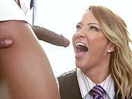 Girl over forty Jessica Drake roughly fucked in mouth by a bunch of black businessman in office 9