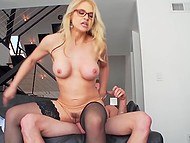 Guy's body helps him seduce blonde stepmom Sarah Vandella with big tits and fuck her