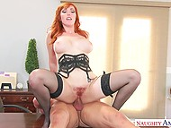 Pumped man urgently finishes work to fuck seductive redhead Lauren Phillips