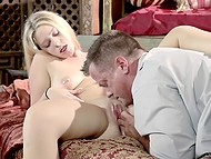 Tender blonde and her experienced inamorato nicely relax together in bedroom 5