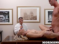 Mature man creampies skinny blonde on table while young guy is watching all this