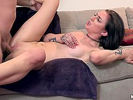 Good-looking brunette and stepbrother have a couple of hours to indulge in sex 6
