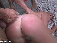 Guy fucks blonde Russian girl like a whore and cums over her booty in front of husband 11