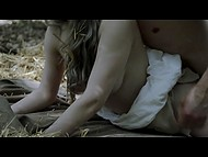 Hot scene out of a romantic movie shows how young lovers seclude in the woods for sex 10