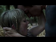 Hot scene out of a romantic movie shows how young lovers seclude in the woods for sex 11