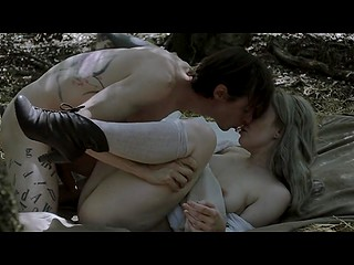 Hot scene out of a romantic movie shows how young lovers seclude in the woods for sex