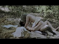 Hot scene out of a romantic movie shows how young lovers seclude in the woods for sex 6