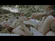 Hot scene out of a romantic movie shows how young lovers seclude in the woods for sex 7