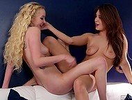 Lesbian with wavy light hair pampers Jojo Kiss' pussy with tongue after energetic scissoring
