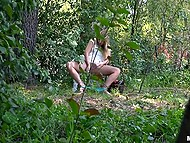 Operator peeps on naughty girl Harley Jade who masturbates with cucumber in forest 8