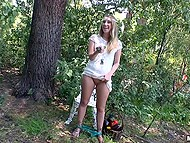Operator peeps on naughty girl Harley Jade who masturbates with cucumber in forest 9