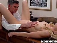 Imperious Mormon leader licks blonde's pussy while her boyfriend watches this