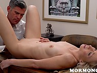 Imperious Mormon leader licks blonde's pussy while her boyfriend watches this 6